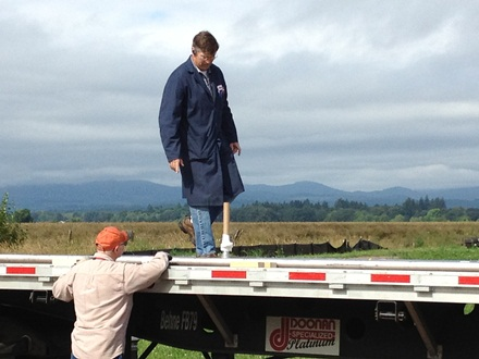 Darrell getting ready to unload vacuum jacketed piping
